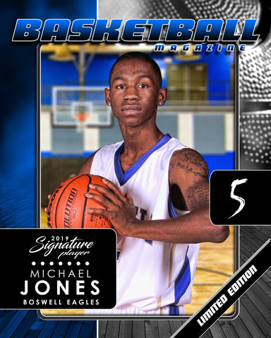 Signature Player - Basketball - V1 - Drop-In Magazine Cover Template Downloadable Template Photo Solutions PSMGraphix
