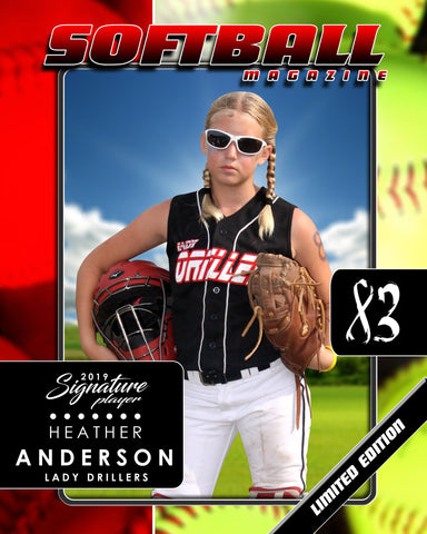 Signature Player - Softball - V1 - Drop-In Magazine Cover Template
