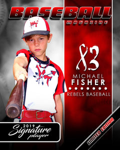 Signature Player - Baseball - V1 - Extraction Magazine Cover Template-Photoshop Template - Photo Solutions
