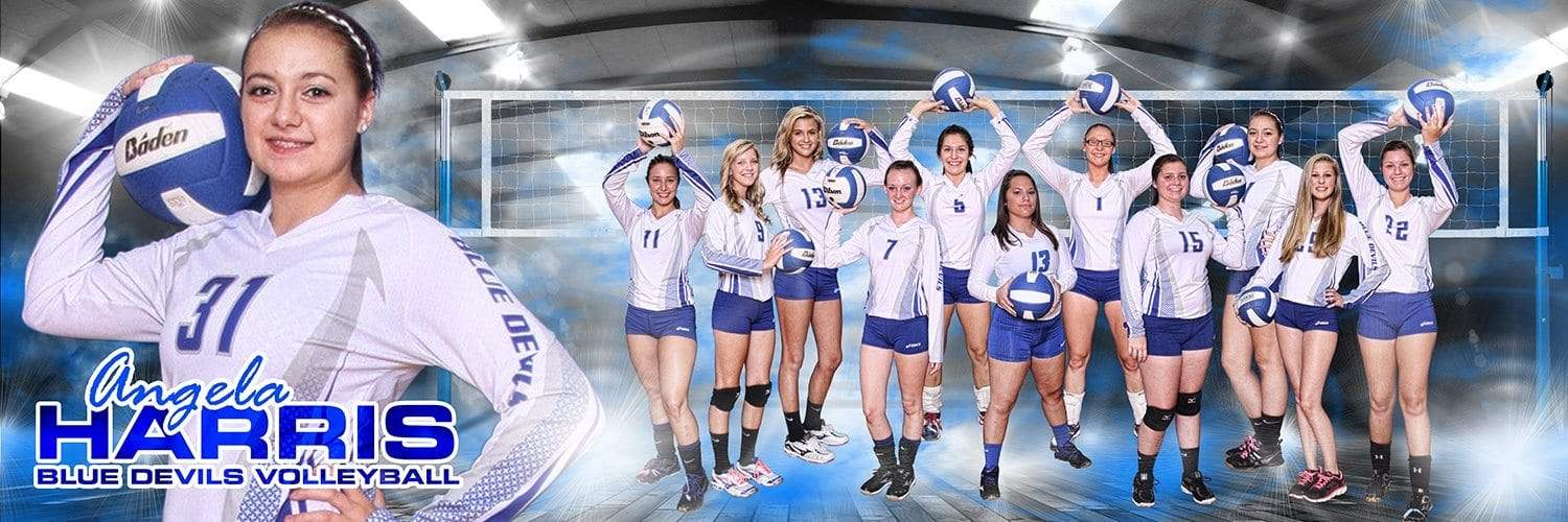 Under The Lights Volleyball - MVP Series - Panoramic-Photoshop Template - Photo Solutions