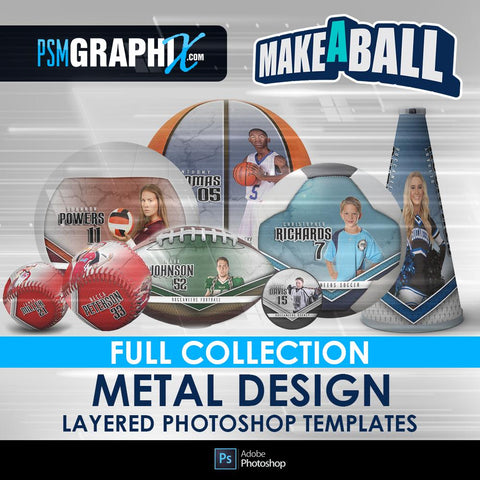 Metal - V.1 - Make-A-Ball Full Template Collection-Photoshop Template - PSMGraphix