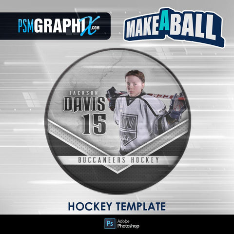Metal - V.1 - Hockey Puck - Make-A-Ball Photoshop Template-Photoshop Template - PSMGraphix
