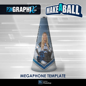 Metal - V.1 - Cheer Megaphone - Make-A-Ball Photoshop Template-Photoshop Template - PSMGraphix