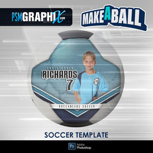 Metal - V.1 - Soccer Ball (Full Size)  - Make-A-Ball Photoshop Template-Photoshop Template - PSMGraphix