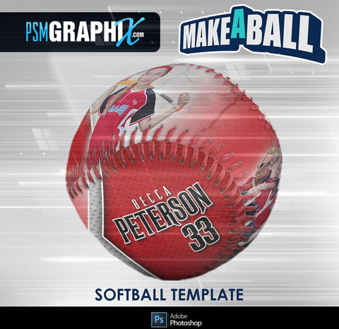 Metal - V.1 - Softball - Make-A-Ball Photoshop Template-Photoshop Template - PSMGraphix