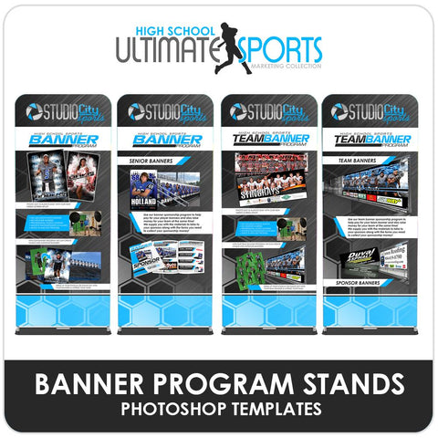 Player & Team Banner Program Banner Stands - Ultimate High School Sports Marketing Templates Downloadable Template Photo Solutions PSMGraphix