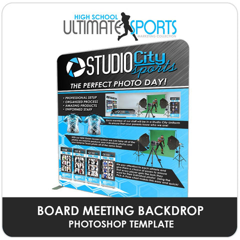 Board Meeting Backdrop - Ultimate High School Sports Marketing Templates-Photoshop Template - Photo Solutions