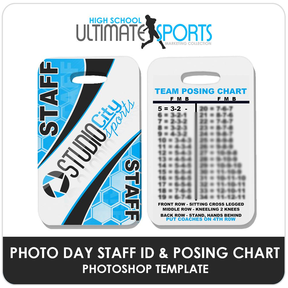 Staff ID Card & Posing Chart - Ultimate High School Sports Marketing Templates-Photoshop Template - Photo Solutions