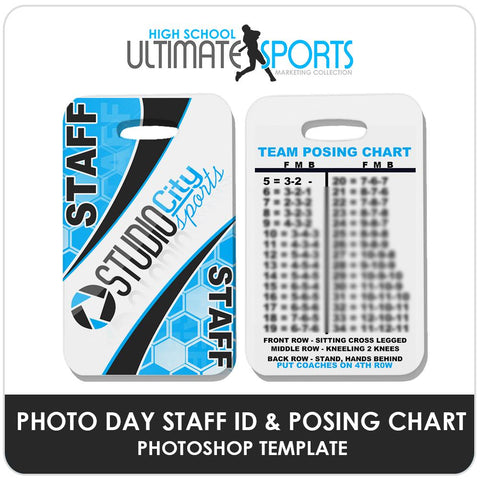 Staff ID Card & Posing Chart - Ultimate High School Sports Marketing Templates Downloadable Template Photo Solutions PSMGraphix