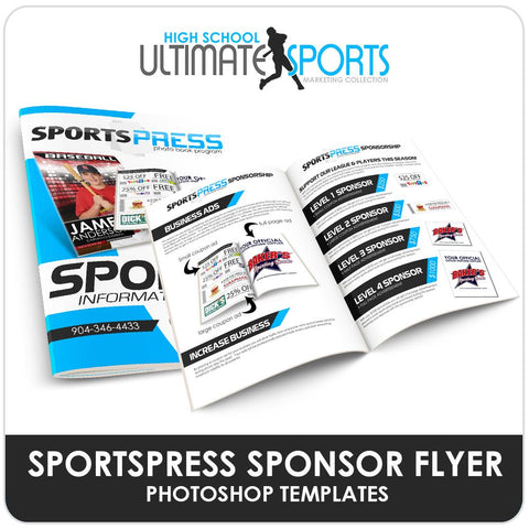 SportsPress Sponsor Brochure - Ultimate High School Sports Marketing Templates Downloadable Template Photo Solutions PSMGraphix