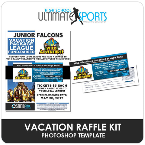 Vacation Raffle Fundraiser Kit - Ultimate High School Sports Marketing Templates Downloadable Template Photo Solutions PSMGraphix