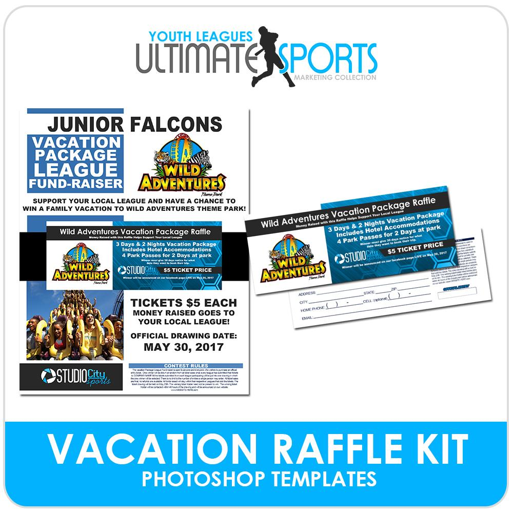 Vacation Raffle Fundraiser Kit - Ultimate Youth Sports Marketing Templates-Photoshop Template - Photo Solutions