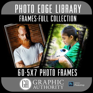 Photo Edge Library - 5x7 Photo Frames - Frame Elements-Photoshop Template - Graphic Authority