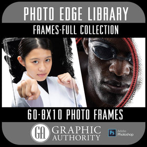 Photo Edge Library - 8x10 Photo Frames - Frame Elements-Photoshop Template - Graphic Authority
