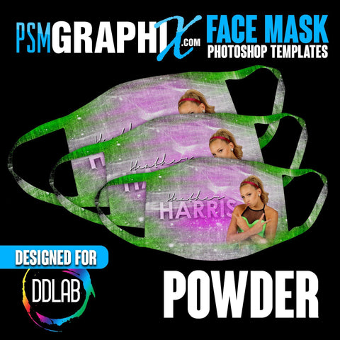 Powder - Face Mask Template Set (DDLAB) 3 Sizes-Photoshop Template - PSMGraphix