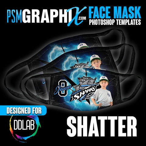 Shatter - Face Mask Template Set (DDLAB) 3 Sizes-Photoshop Template - PSMGraphix