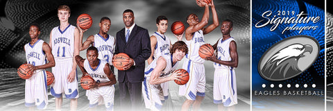 Basketball - v.1 - Signature Player - Team Panoramic Downloadable Template Photo Solutions PSMGraphix