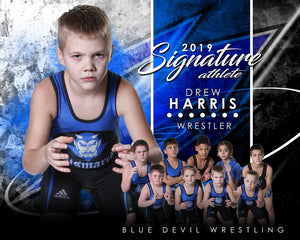Wrestling - v.1 - Signature Player - H T&I Poster/Banner-Photoshop Template - Photo Solutions