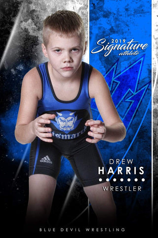 Wrestling - v.1 - Signature Player - V T&I Poster/Banner Downloadable Template Photo Solutions PSMGraphix