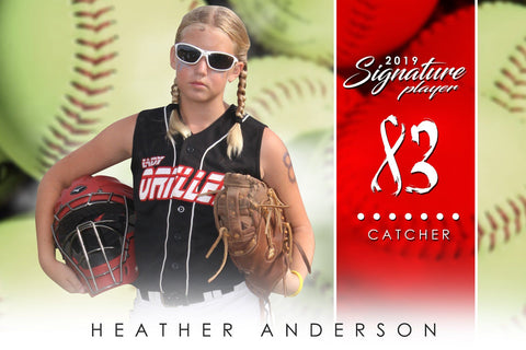 Softball - v.1 - Signature Player - H Poster/Banner-Photoshop Template - Photo Solutions
