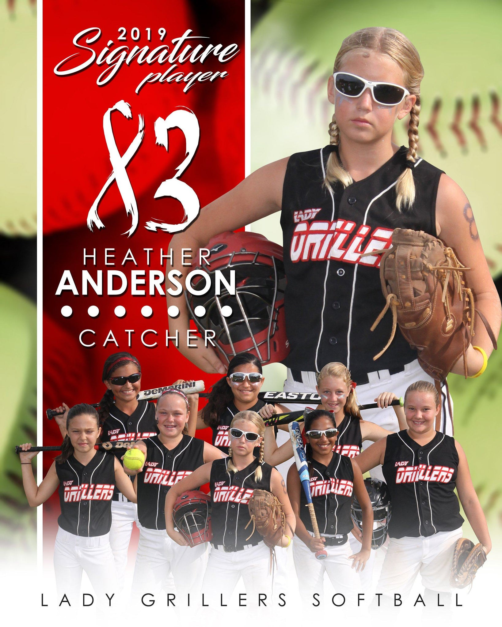Softball - v.1 - Signature Player - V T&I Poster/Banner-Photoshop Template - Photo Solutions