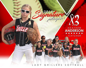 Softball - v.2 - Signature Player - H T&I Poster/Banner-Photoshop Template - Photo Solutions