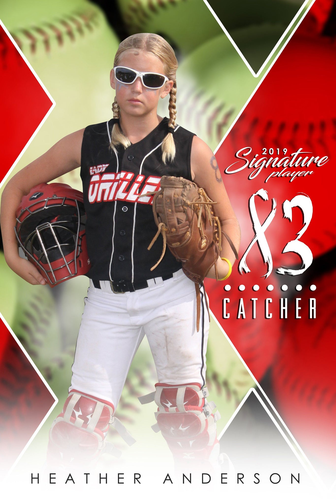 Softball - v.2 - Signature Player - V Poster/Banner-Photoshop Template - Photo Solutions