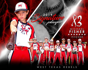 Baseball - v.3 - Signature Player - H T&I Poster/Banner-Photoshop Template - Photo Solutions