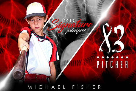Baseball - v.3 - Signature Player - H Poster/Banner Photoshop Template -  PSMGraphix
