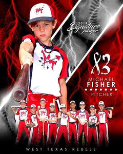 Baseball - v.3 - Signature Player - V T&I Poster/Banner Downloadable Template Photo Solutions PSMGraphix