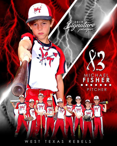 Baseball - v.3 - Signature Player - V T&I Poster/Banner-Photoshop Template - Photo Solutions