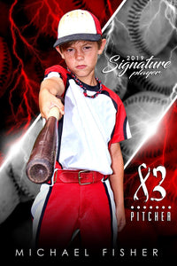 Baseball - v.3 - Signature Player - V Poster/Banner Downloadable Template Photo Solutions PSMGraphix