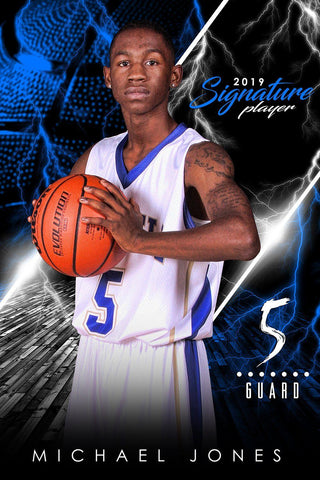 Basketball - v.3 - Signature Player - V Poster/Banner Downloadable Template Photo Solutions PSMGraphix