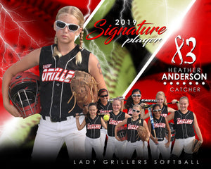 Softball - v.3 - Signature Player - H T&I Poster/Banner-Photoshop Template - Photo Solutions