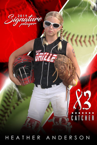 Softball - v.3 - Signature Player - V Poster/Banner Downloadable Template Photo Solutions PSMGraphix