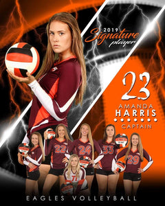 Volleyball - v.3 - Signature Player - V T&I Poster/Banner