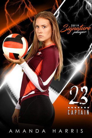 Volleyball - v.3 - Signature Player - V Poster/Banner-Photoshop Template - Photo Solutions