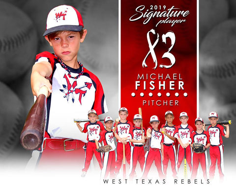 Baseball - v.1 - Signature Player - H T&I Poster/Banner Downloadable Template Photo Solutions PSMGraphix
