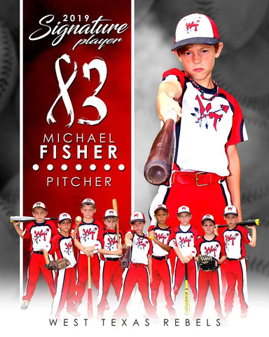 Baseball - v.1 - Signature Player - V T&I Poster/Banner