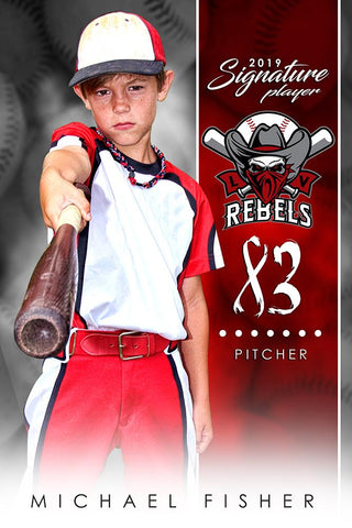 Baseball - v.1 - Signature Player - V Poster/Banner-Photoshop Template - Photo Solutions
