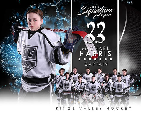Hockey - v.1 - Signature Player - H T&I Poster/Banner-Photoshop Template - Photo Solutions