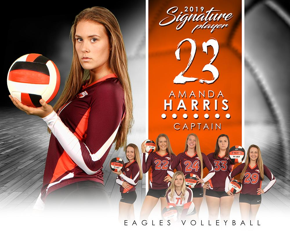 Volleyball - v.1 - Signature Player - H T&I Poster/Banner-Photoshop Template - Photo Solutions
