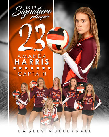 Volleyball - v.1 - Signature Player - V T&I Poster/Banner