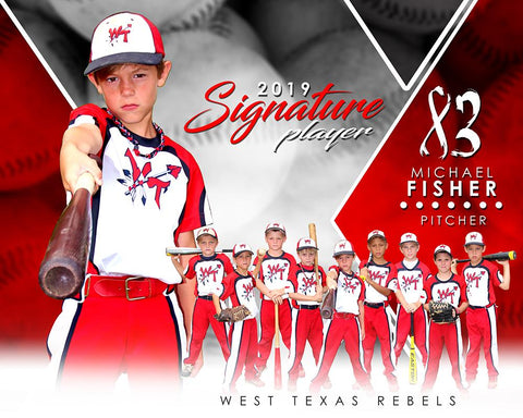 Baseball - v.2 - Signature Player - H T&I Poster/Banner
