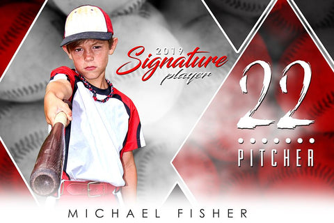 Baseball - v.2 - Signature Player - H Photoshop Template -  PSMGraphix