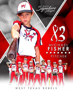 Baseball - v.2 - Signature Player - V T&I Poster/Banner