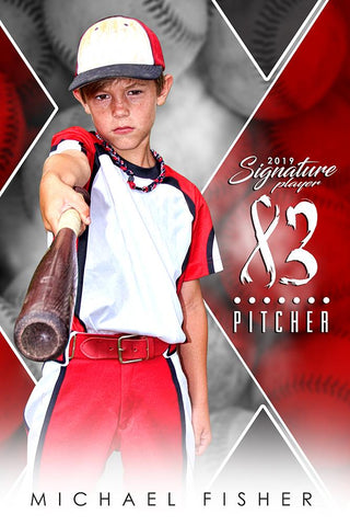 Baseball - v.2 - Signature Player - V Poster/Banner