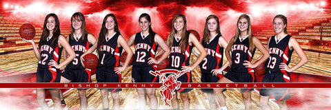 Basketball Night Game - Signature Series - Team Panoramic-Photoshop Template - Photo Solutions