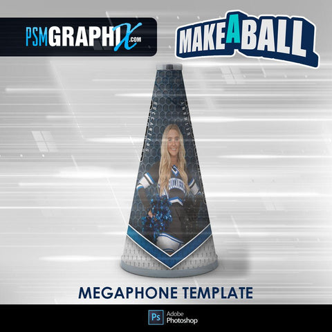 SmokeScreen - V.1 - Cheer Megaphone - Make-A-Ball Photoshop Template-Photoshop Template - PSMGraphix