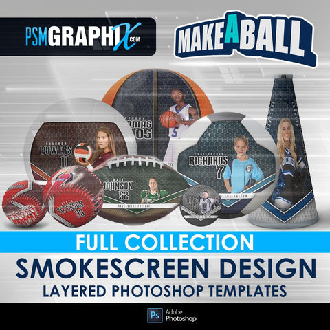 Smokescreen - V.1 - Make-A-Ball Full Template Collection-Photoshop Template - PSMGraphix